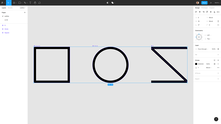 Outline icons created using stroke in Figma