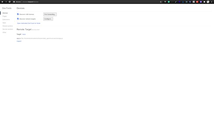 Nodejs Inspector Chrome Browser Display