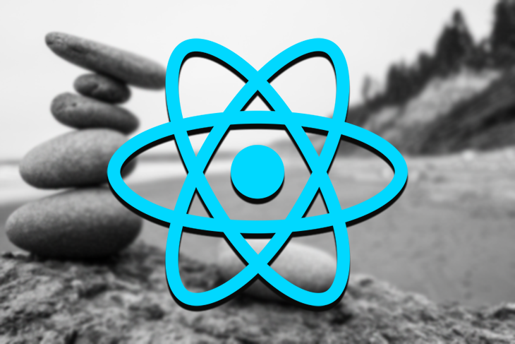React Logo Over a Background with Balancing Rocks
