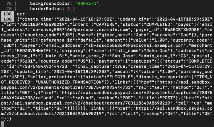 Payment Result in React Native