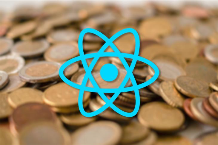 React Native Logo Over Coins