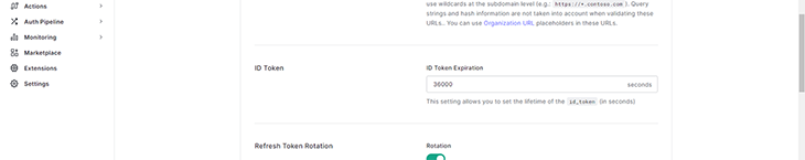 id_token expiration set in sample site