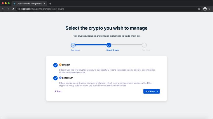 Select Crypto Screen