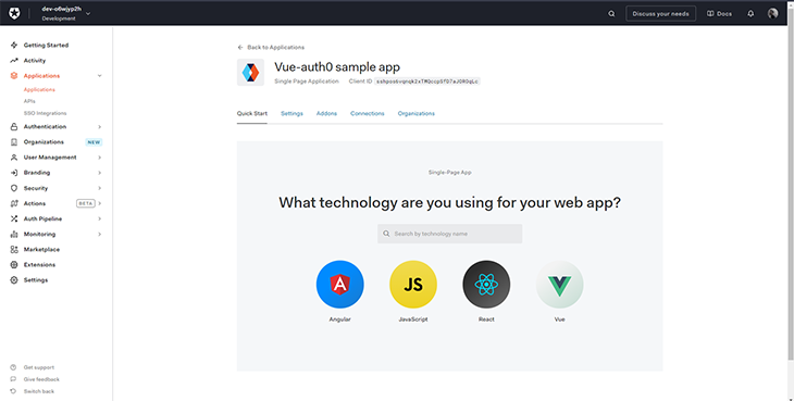 Select Vue in Auth0