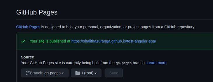 Settings tab in GitHub Pages