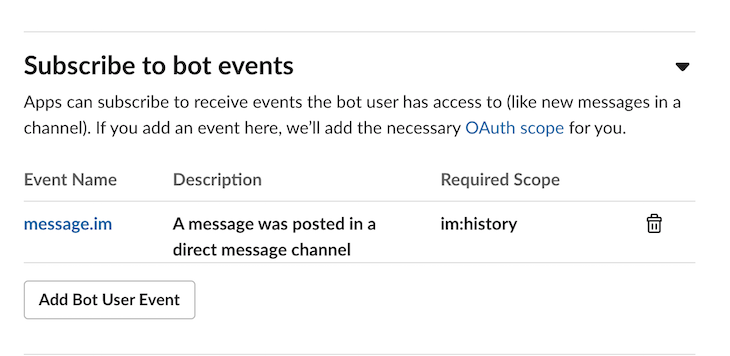 Subscribe Bot Events Slack
