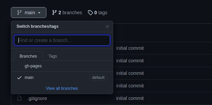 Switching branches in GitHub Pages