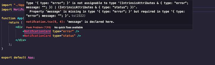 Type Error Message Property