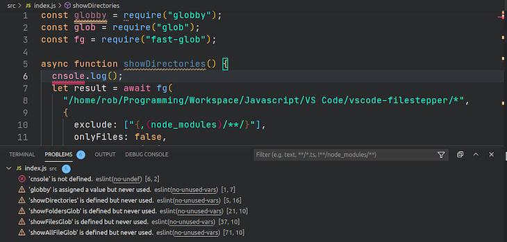 Inserting ESLint in VS Code