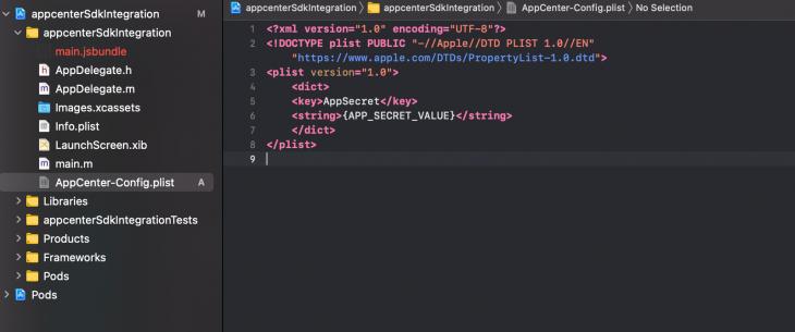 AppCenter-Config.plist Content