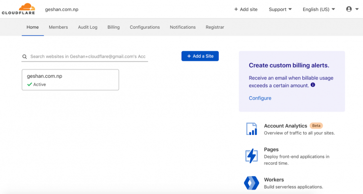 Screenshot of Google Cloudflare home page