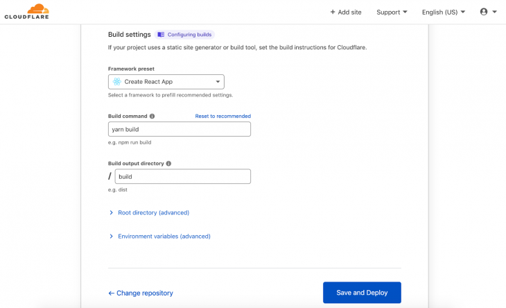 Screenshot of cloudflare pages build settings tab