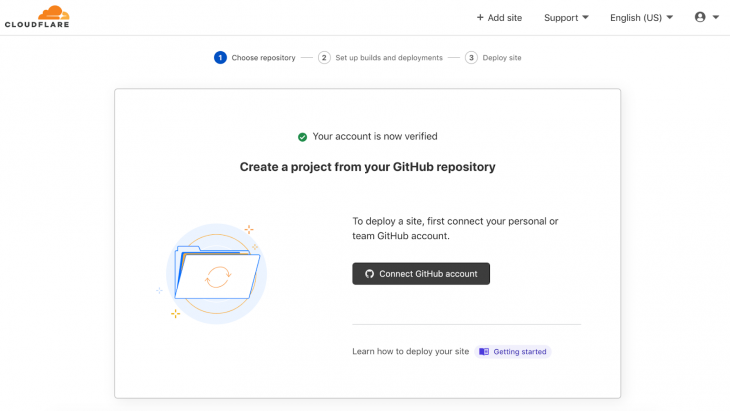 Screenshot of cloudflare pages connect github tab