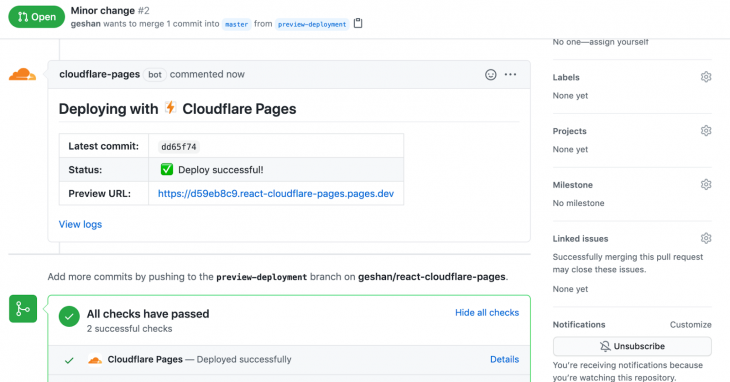 Screenshot of Github repo with comment by Cloudflare pages stating successful deployment