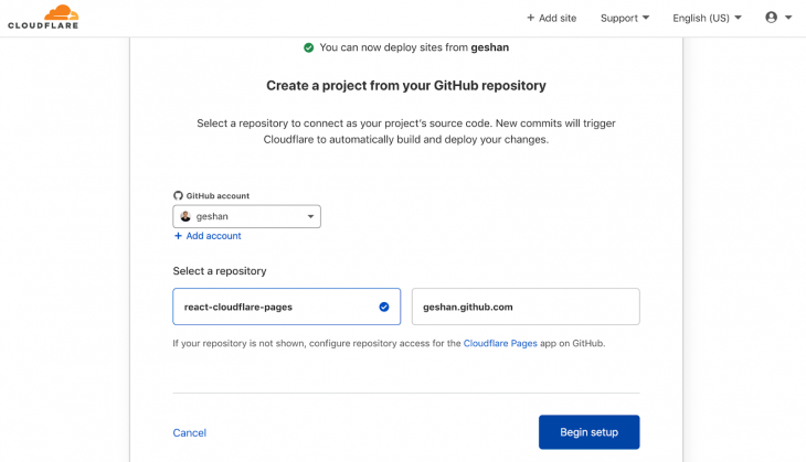 Screenshot of Cloudflare Pages after successful link to Github repository