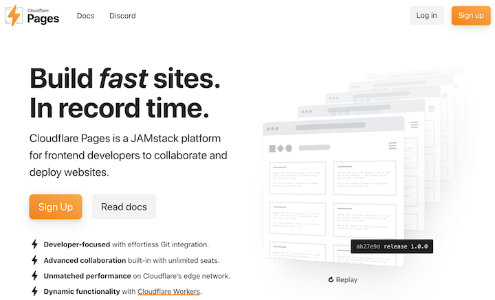 Screenshot of Cloudflare Pages homepage