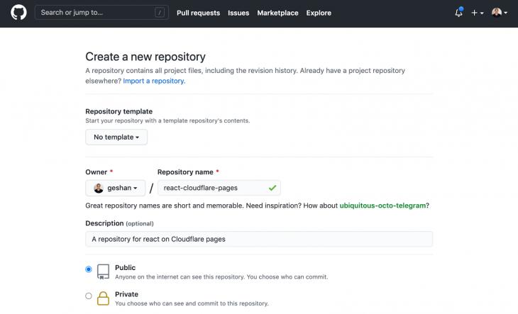 Screenshot of Github's Create New Repository menu