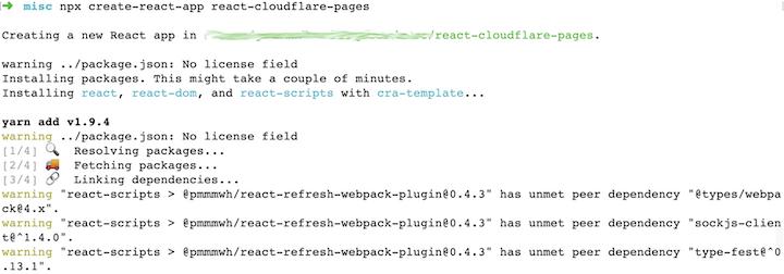Screenshot of development environment after installing Create React App