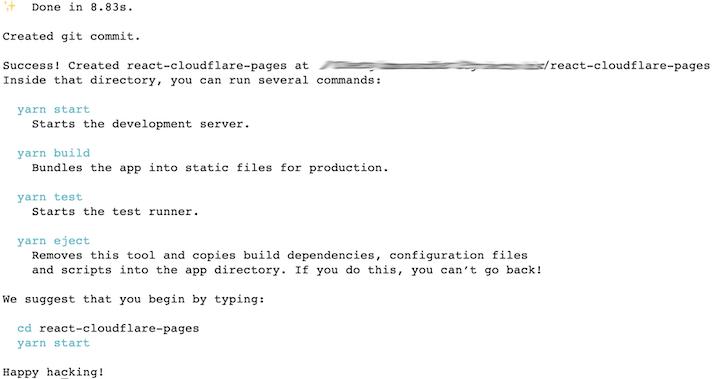 Screenshot of Create React App output after install