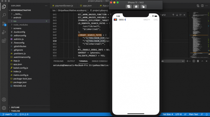 Screenshot of an app with blank white screen and single credit card info entry form in Xcode