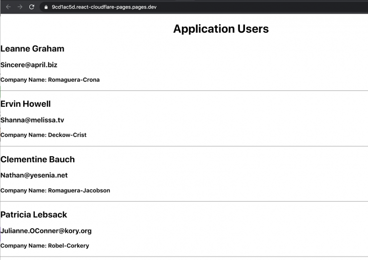 Screenshot of application users app deployed via Cloudflare pages