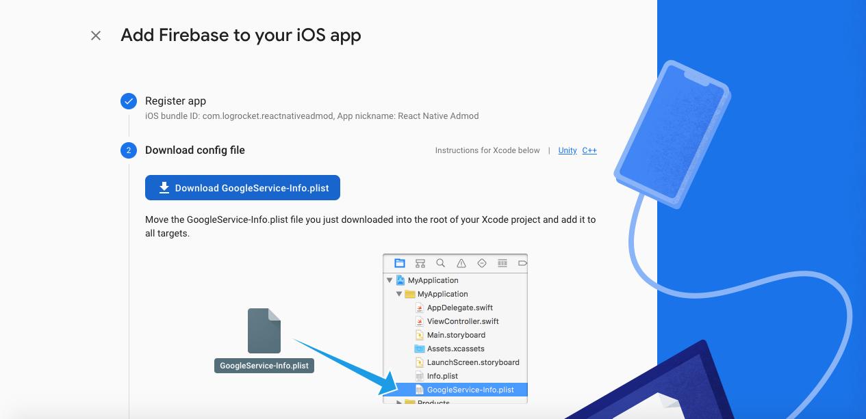 Screenshot of Firebase add to ios page