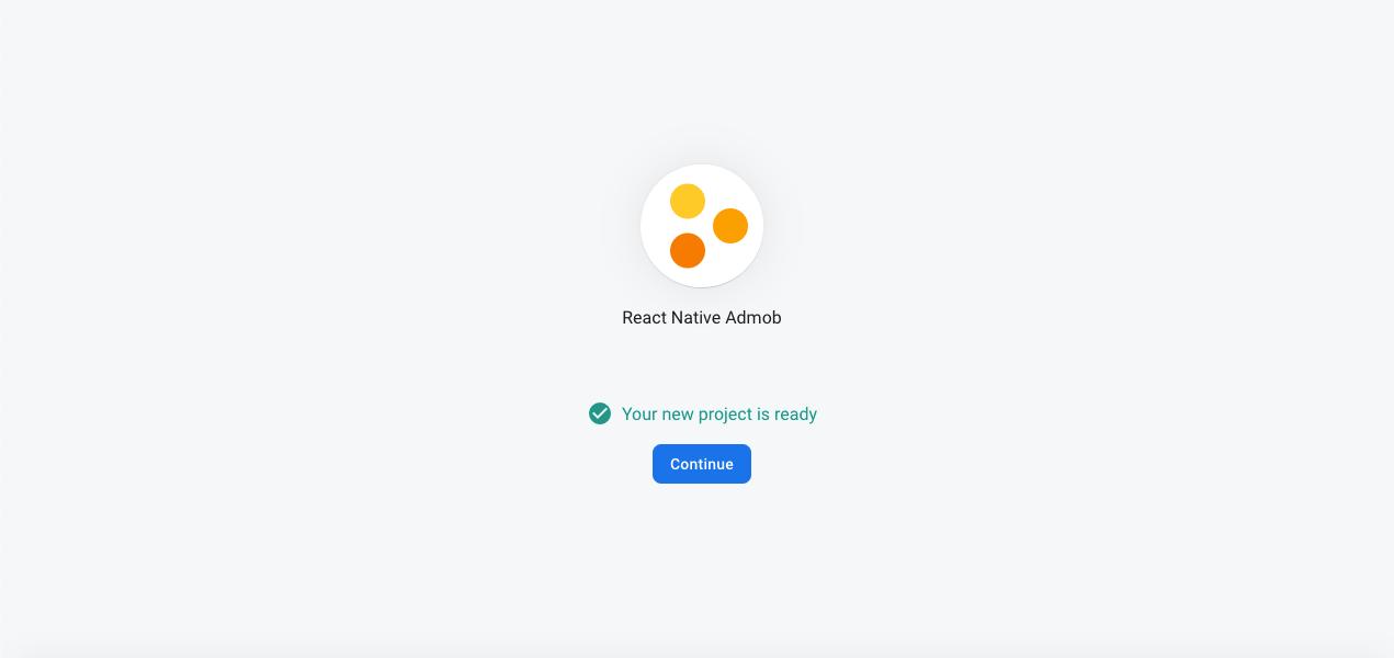 Screenshot of successful admob project creation in Firebase