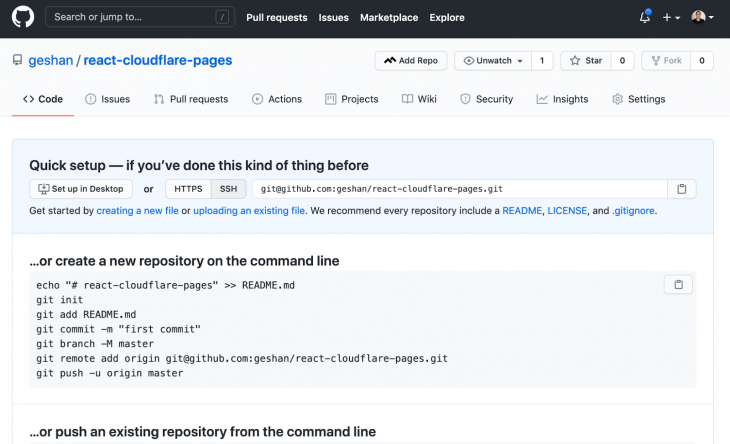 Screenshot of Github page after new repository is created