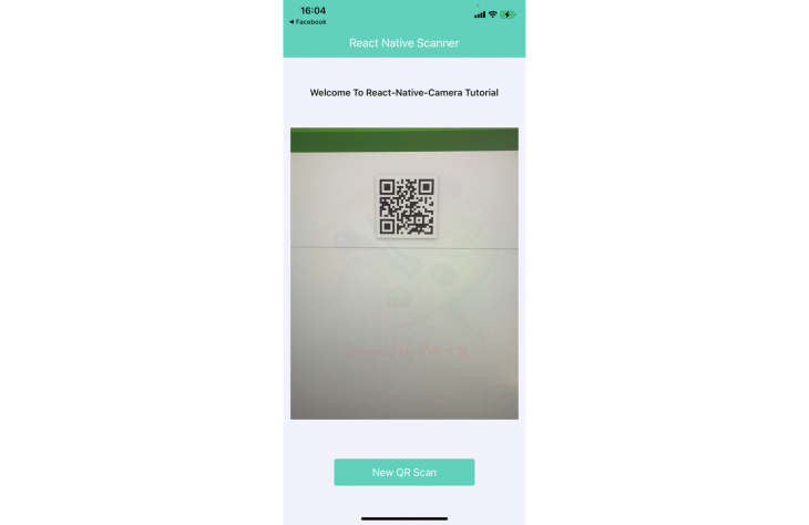 Screenshot of React Native Scanner app scanning QR code