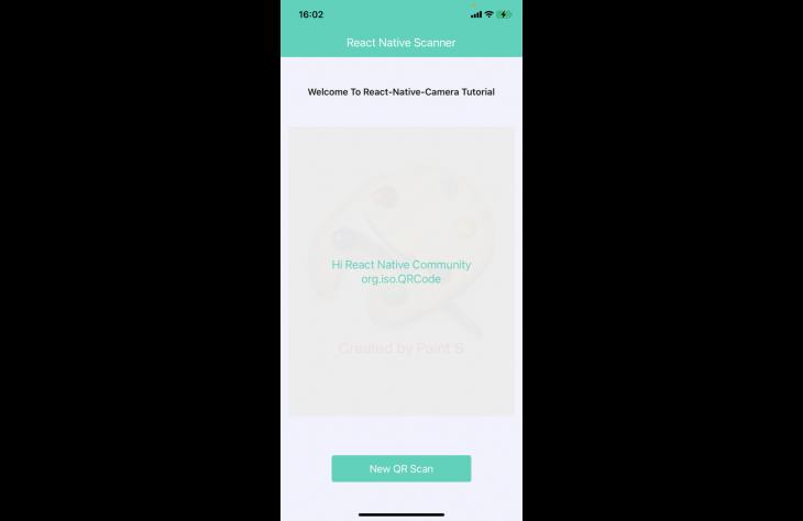 Screenshot of final react native scanner app