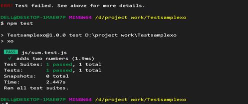 Screenshot of failed test