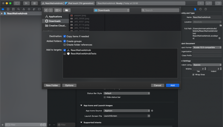 Screenshot of React Native Admob project being added to Xcode