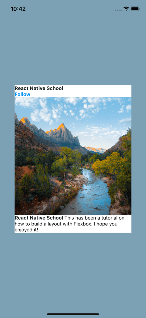 Card Image Of River And Mountains With Text On The Header And Footer Displayed In The Center Of Mobile Screen