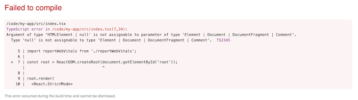 TypeScript Throws an Error for the createRoot Property