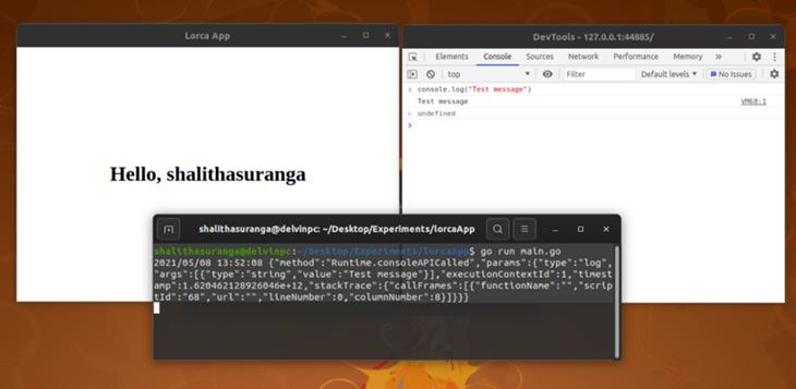 Debugging a Lorca app using ChromeDevTools and Terminal