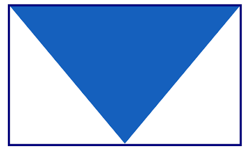 Blue Downward Facing Triangle In Rectangle