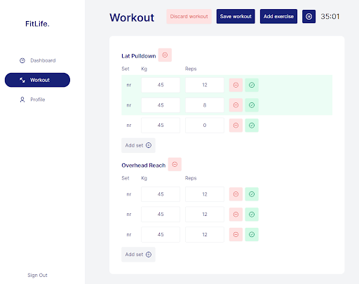 Dashboard To Edit Workout In Fitness Tracker Application