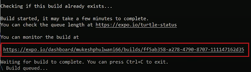Build Status URL For Expo App Cloud Upload