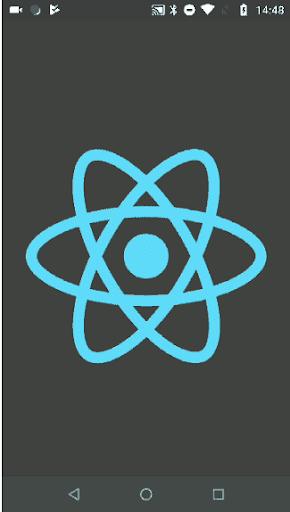 Splash Screen of React Native Logo On Mobil Device