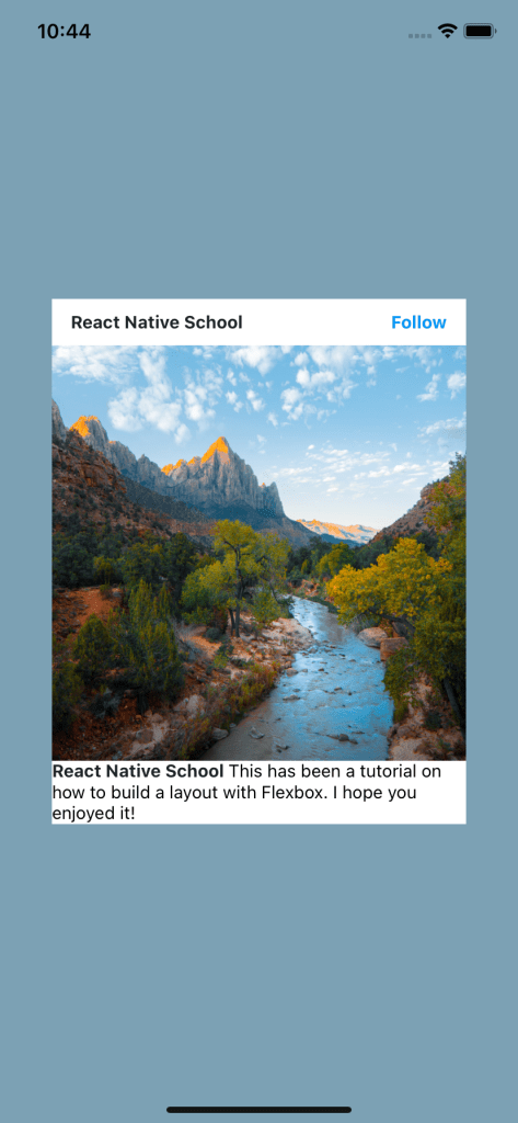 """Card With Increased Header Space Stating """"React Native School"""" And """"Follow"""" On The Same Line"""