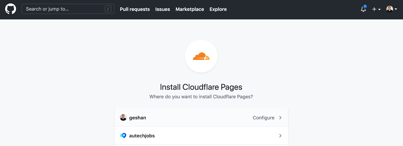 Screenshot of Github install cloudflare pages tab