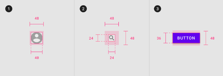 Material Design Mobile Touch Targets