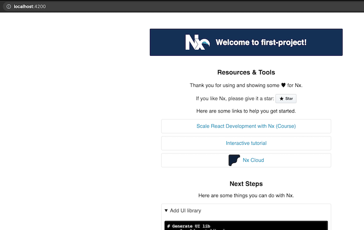 Nx First Project Homepage