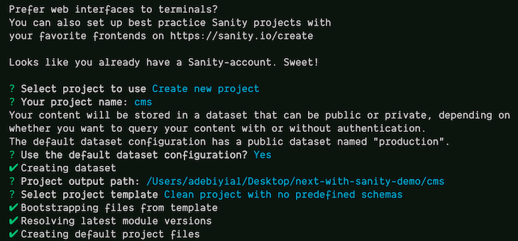 Answers to the question and answer prompt when setting up a Sanity Studio project