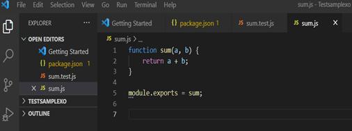 Screenshot of Sum.js file