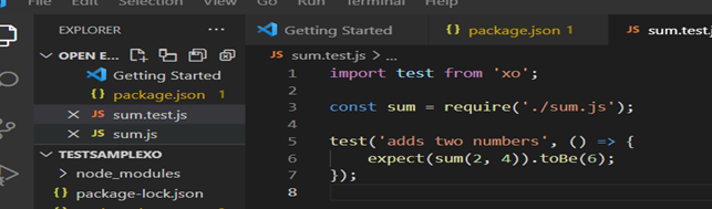 Screenshot of test case code in which two numbers will be added together