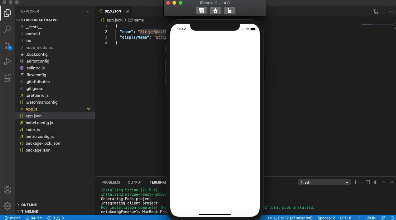 Screenshot of blank white app screen in xcode
