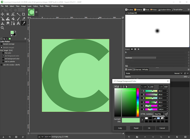 Adding Green Color To The Letter C Image In GIMP With Color Picker