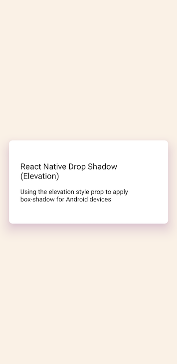 Android Card Rendered With Shadow Box Underneath
