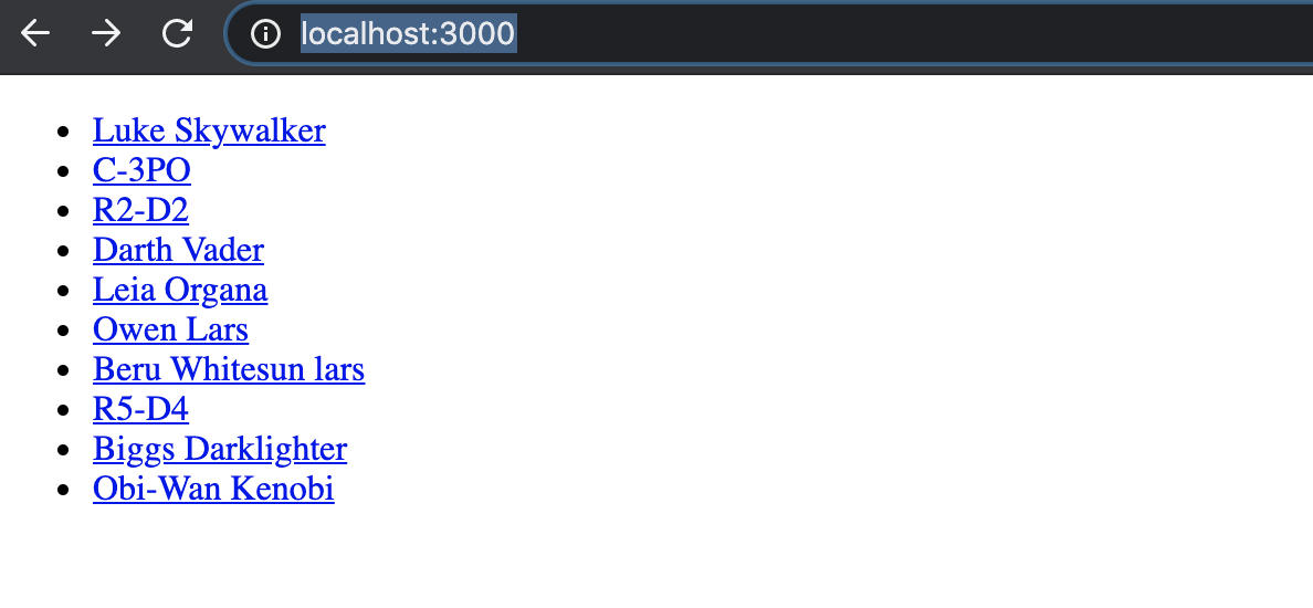 Screenshot of web app showing a list of clickable Star Wars character names